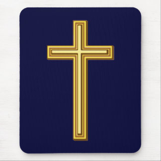 Gold Cross on Blue Mouse Pad