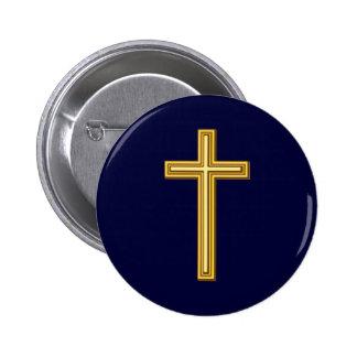 Gold Cross on Blue Pinback Button