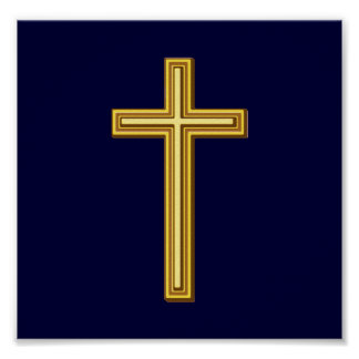 Gold Cross on Blue Poster