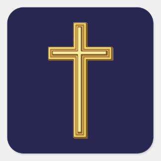Gold Cross on Blue Square Sticker
