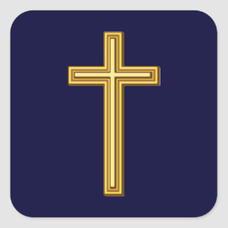 Gold Cross on Blue Square Sticker