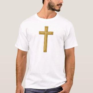 Gold Cross on Blue T-Shirt