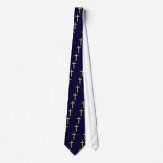 Gold Cross on Blue Tie