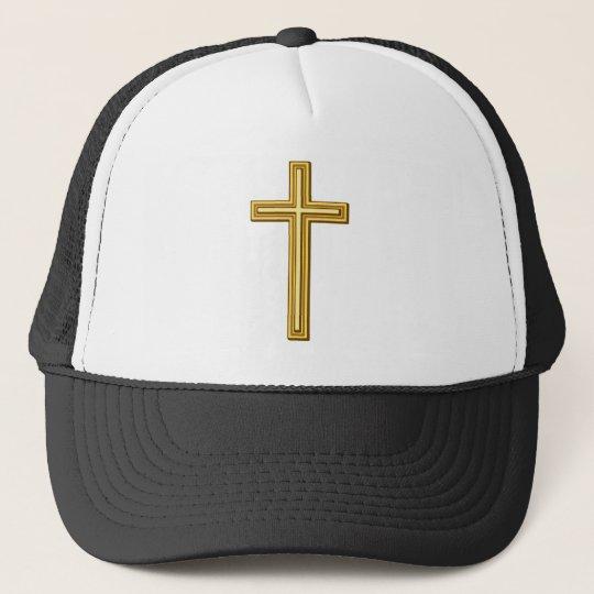 Gold Cross on Blue Trucker Hat