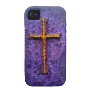 Gold cross on purple case for the iPhone 4