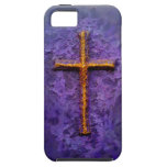 Gold cross on purple iPhone 5 cover