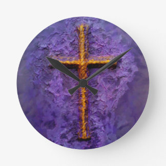 Gold cross on purple round clock