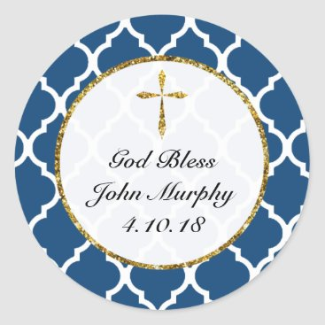 religious Gold Cross Personalized Religious Favor Tag, Navy Classic Round Sticker