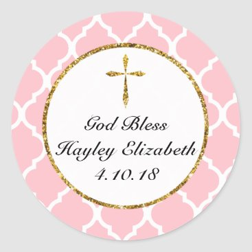 religious Gold Cross Personalized Religious Favor Tag, Pink Classic Round Sticker