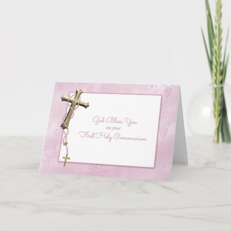 Gold Cross, Pink Rosary Beads, Communion Blessing Card