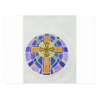 gold cross postcard