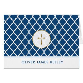 Gold Cross Religious Thank You, Navy Quatrefoil Card