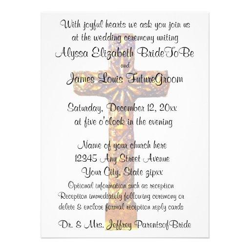 Gold Cross Religious Wedding Custom Invitations | Zazzle