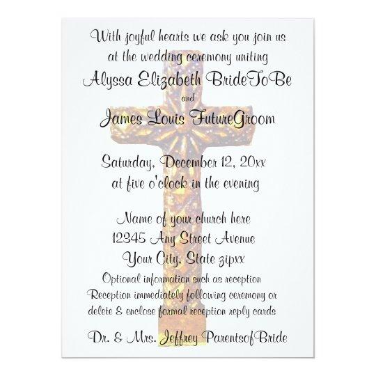 Gold Cross Religious Wedding Invitation