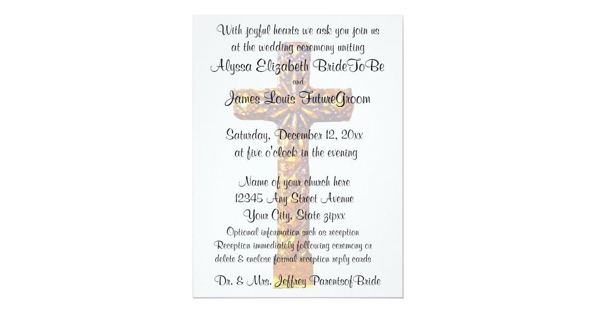 Religious Wedding Invitation Wording: Gold Cross Religious Wedding Invitation