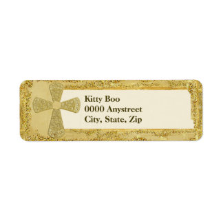 Gold Cross Return Address Label