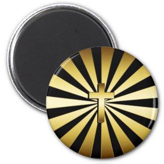 GOLD CROSS SUN BURST 2 INCH ROUND MAGNET