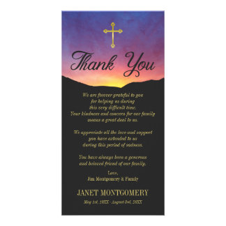 Gold Cross & Sunrise - Sympathy Thank You Card