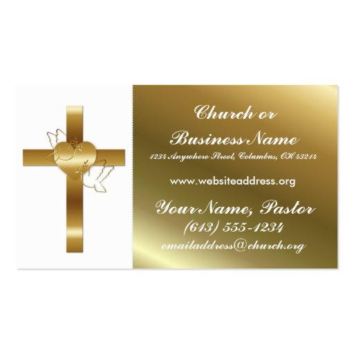 Gold Cross w Doves Church Minister Business Card : Zazzle