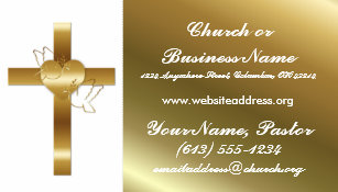 Minister business cards templates zazzle gold cross w doves church minister business card colourmoves