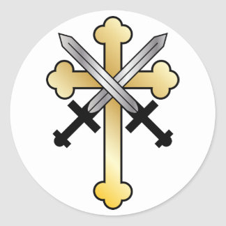 Gold Cross with Crossed Swords Classic Round Sticker