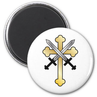 Gold Cross with Crossed Swords Magnet