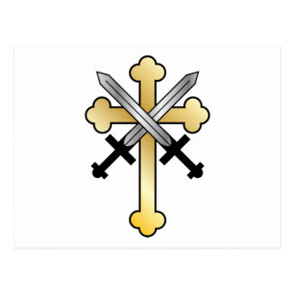 Gold Cross with Crossed Swords Postcard