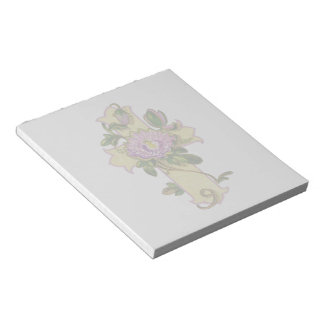 Gold Cross with Irises Notepad
