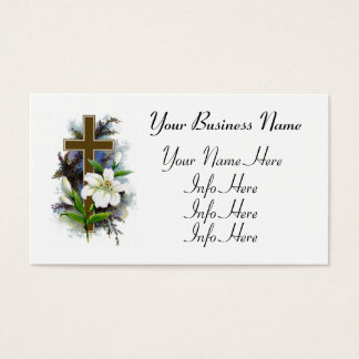 Gold Cross With White Flower Business Card