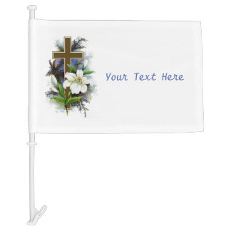 Gold Cross With White Flower Car Flag