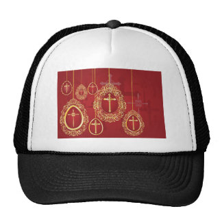Gold crosses and filigree eggs on red hats