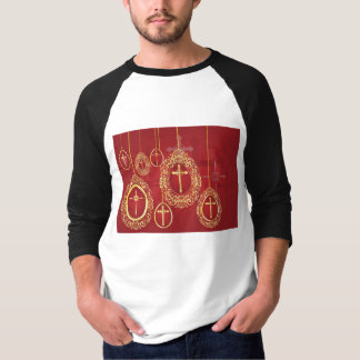 Gold crosses and filigree eggs on red T-Shirt