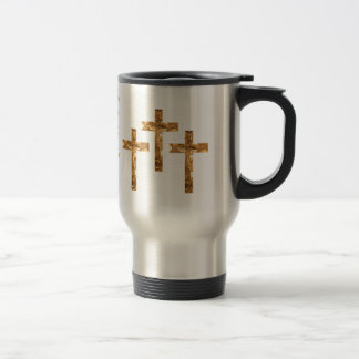 Gold Crosses on  and scripture cover this mug... 15 Oz Stainless Steel Travel Mug