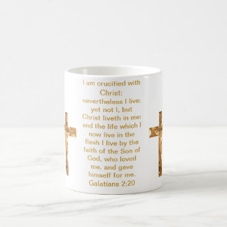 Gold Crosses on  and scripture cover this mug... Classic White Coffee Mug