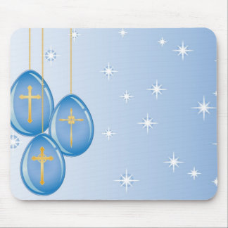 Gold crosses on blue eggs on a blue with stars mouse pad
