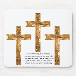 Gold Crosses on mouse pad with Scripture.