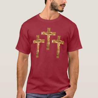 Gold Crosses on shirt with Scripture on back