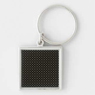 Gold Crosses Pattern Template Silver-Colored Square Keychain
