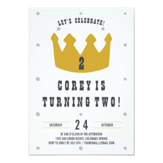 Gold Crown Birthday Invitation