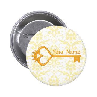 Gold Crown Heart Key 2 Inch Round Button