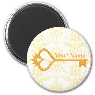Gold Crown Heart Key 2 Inch Round Magnet