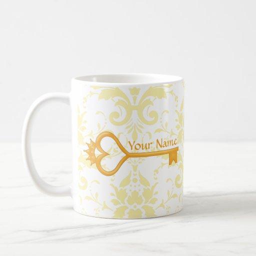 Gold Crown Heart Key Coffee Mug