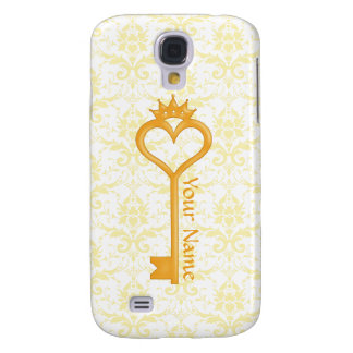 Gold Crown Heart Key Galaxy S4 Covers
