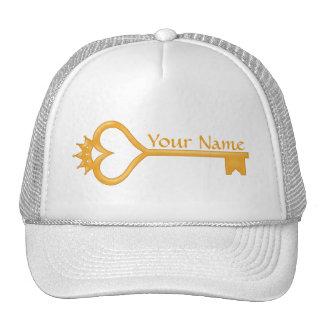 Gold Crown Heart Key Hat