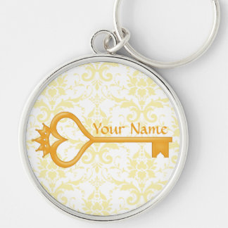 Gold Crown Heart Key Silver-Colored Round Keychain