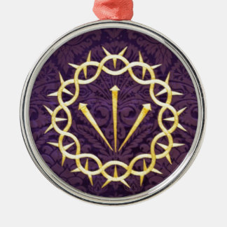 Gold Crown Of Thorns On Dark Purple Background Metal Ornament