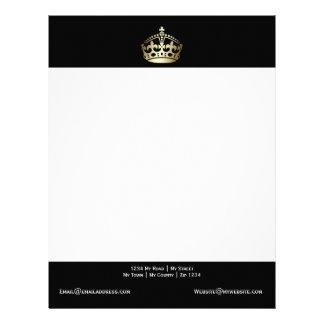 Gold Crown On Black Background Letterhead