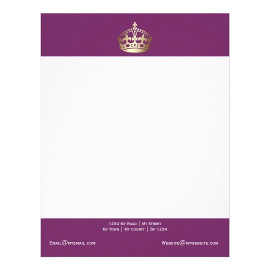 gold crown on purple background letterhead