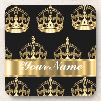 Gold crown pattern on black beverage coaster