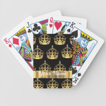 Gold crown pattern on black bicycle playing cards